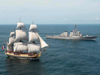 Tall Ship and Modern Warship